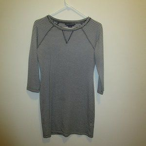 Long Sleeved Black and White Striped Dress